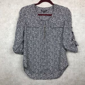Express Black and White Print Tab Sleeve Top